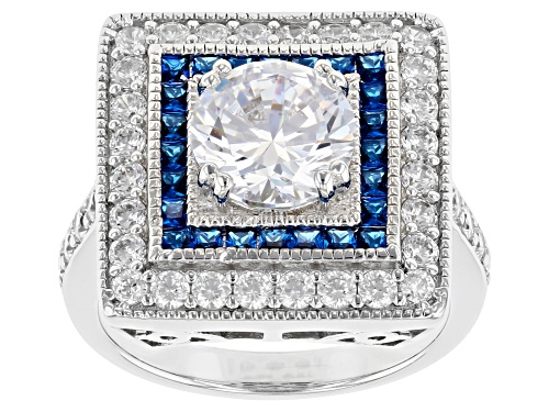 Photo of Charles Winston For Bella Luce®5.38ctw Sapphire And White Diamond Simulants Rhodium Over Silver Ring - Size 8