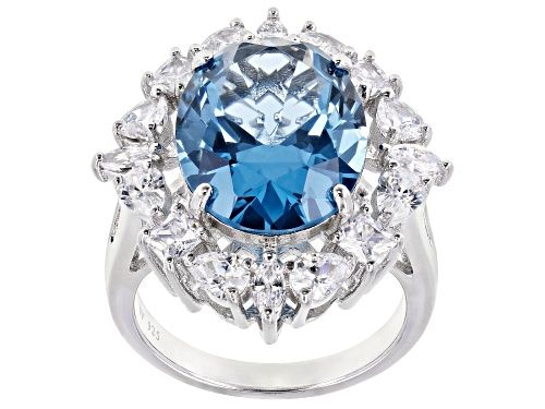 Photo of Charles Winston for Bella Luce® Lab Blue Spinel and Diamond Simulant Rhodium Over Silver Ring - Size 8