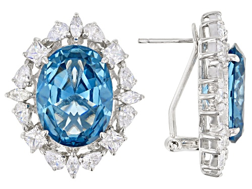 Photo of Charles Winston for Bella Luce®Lab Blue Spinel and Diamond Simulant Rhodium Over Sterling Earrings