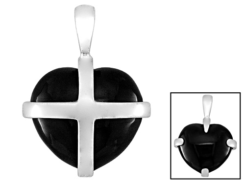 Photo of English Whitby Jet 13x11mm Cross Heart Sterling Silver Pendant Comes With W. Hamond Box