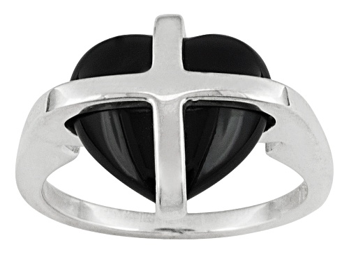 Photo of English Whitby Jet 13x11mm Cross Heart Sterling Silver Ring Comes With Whamond Box - Size 7
