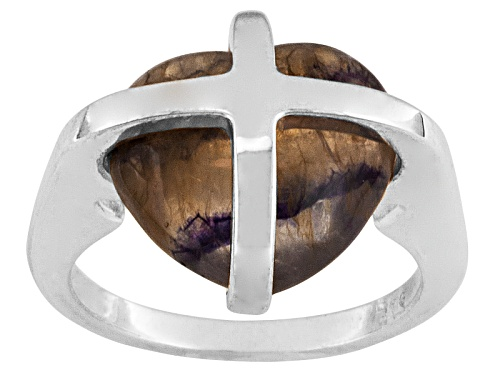 Photo of English Blue John Fluorite 13x11mm Cross Heart Sterling Silver Ring Comes With Cw Sellors Box - Size 6