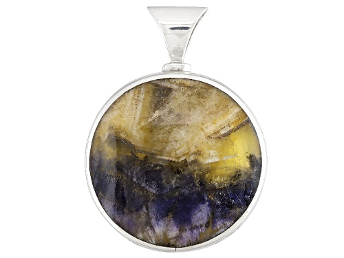 Photo of English Bluejohn Fluorite And Whitby Jet 34mm Round Cabochon Sterling Silver Double Sided Pendant