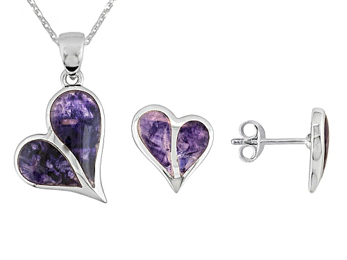 Photo of Blue John Fluorite Doublet Split Heart Ster Silver Earrings And Pendant With Chain C.W. Sellors Box