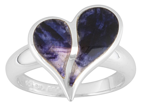 Photo of Blue John Fluorite Doublet Split Heart Sterling Silver Ring Come With C.W. Sellors Box - Size 8