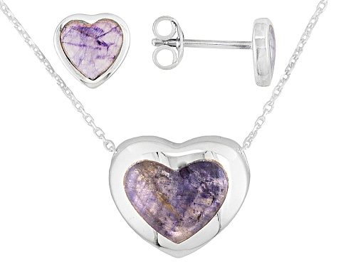 Photo of Blue John Fluorite Doublet Framed Heart Ster Silver Earrings And Pendant With Chain C.W. Sellors Box