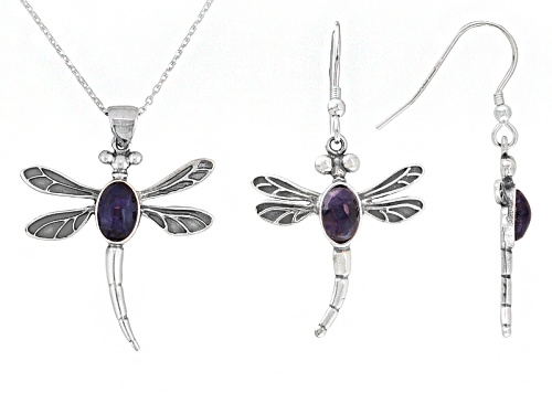 Blue John Fluorite Doublet Dragonfly Sterling Drop Earrings And Pendant With Chain C.W. Sellors Box