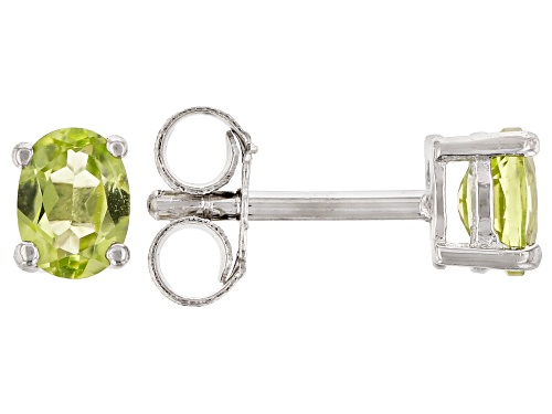 Photo of .29ctw Oval Manchurian Peridot™ Rhodium Over Silver Children's Stud Earrings