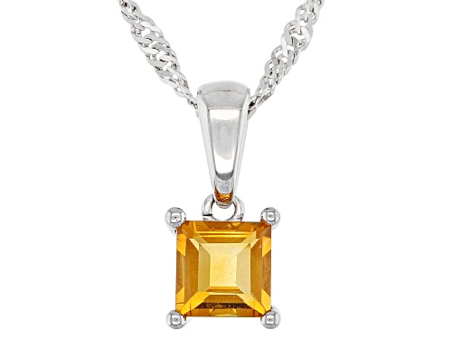 Photo of .21ct Square Golden Citrine Rhodium Over Sterling Silver Children's Pendant With Chain