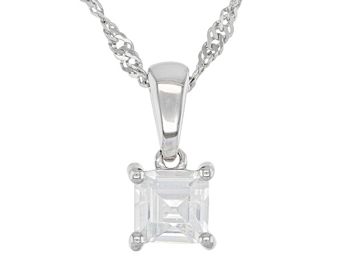 Photo of .34ct Square White Zircon Rhodium Over Sterling Silver Children's Pendant With Chain