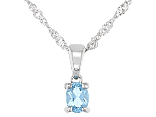 Photo of .18ct Oval Swiss Blue Topaz Rhodium Over Sterling Silver Children's Pendant with Chain