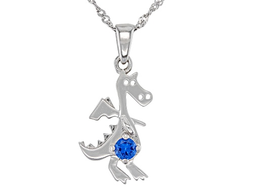 Photo of .10ct Lab Created Blue Spinel Rhodium Over Sterling Silver Children's Dinosaur Pendant with Chain
