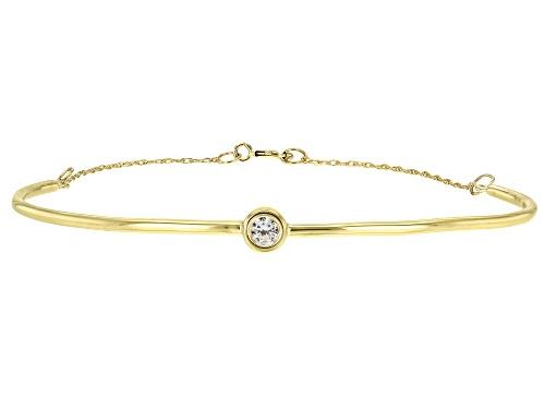 Photo of .11ct Round White Zircon Solitaire 10k Yellow Gold Bracelet - Size 6