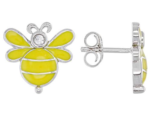 Photo of .03ctw Round White Zircon Yellow Enamel And Rhodium Over Silver Children's Bee Stud Earrings
