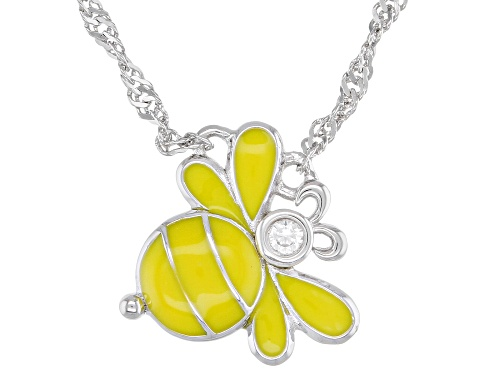 Photo of .03ct Round White Zircon Yellow Enamel And Rhodium Over Silver Children's Bee Necklace
