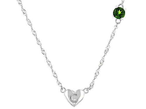 "Photo of .23ct Round Russian Chrome Diopside Rhodium Over Sterling Silver Heart ""C"" Children's Necklace - Size 12"