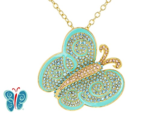 Photo of Multicolor Crystal Gold Tone Butterfly Pin/Pendent