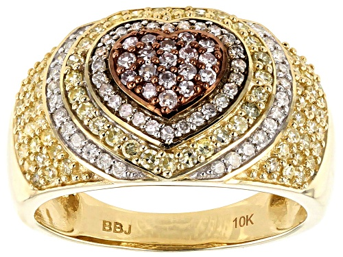Photo of .85ctw Round Natural Yellow With Pink And White Diamond 10k Yellow Gold Ring - Size 8