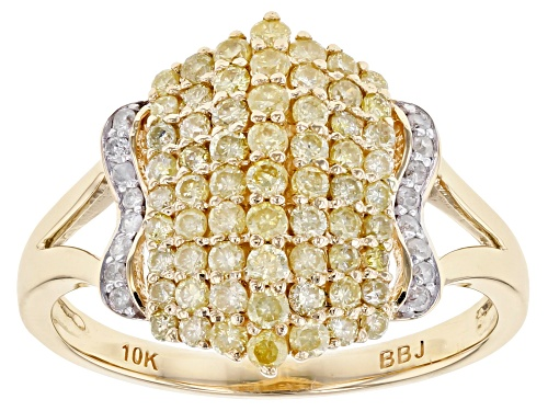 Photo of .74ctw Round Natural Yellow And White Diamond 10k Yellow Gold Ring - Size 5