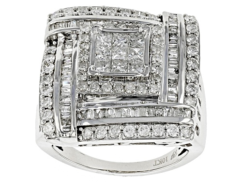 Photo of 2.25ctw Baguette, Round & Princess Cut Diamonds 10k White Gold Ring - Size 6