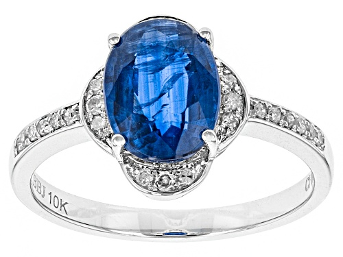 Photo of 2.17ct Oval Kyanite And .13ctw Round White Diamond Rhodium Over 10k White Gold Ring - Size 8