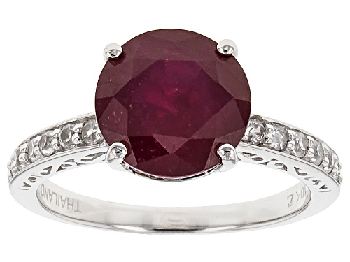 Photo of 4.79ct Round Mahaleo® Ruby And .37ctw Round White Zircon 10k White Gold Ring - Size 9