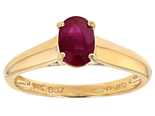 Photo of .75ct Oval Burmese Ruby And .02ctw Round White Diamond Accent 14k Yellow Gold Ring - Size 8