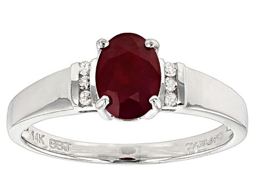 Photo of 1.00ct Oval Burmese Ruby And .04ctw Round White Diamond Accent 14k White Gold Ring - Size 7