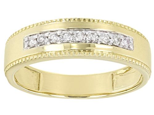 Photo of 0.20ctw Round White Diamond 14K Yellow Gold Mens Ring - Size 10.5