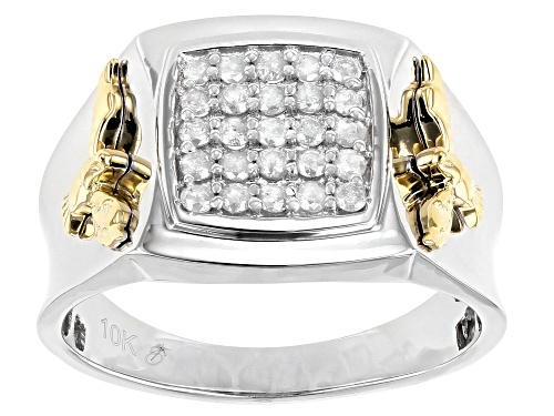 Photo of 0.50ctw Round White Diamond 10k Two-Tone Gold Mens Eagle Cluster Ring - Size 10