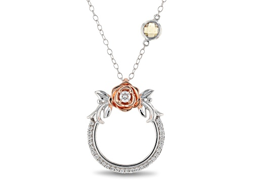 Photo of Enchanted Disney Belle Rose Pendant With Chain Diamond And Citrine 14K White And Rose Gold 0.46ctw
