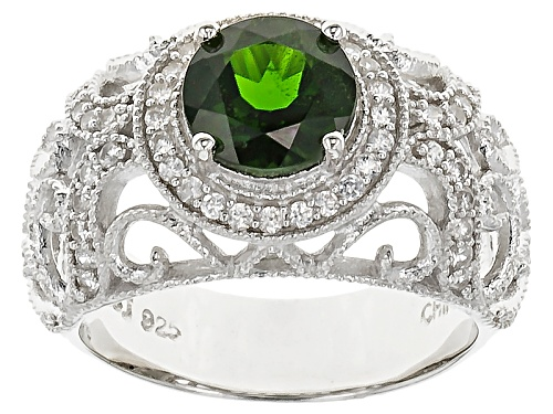 Photo of 1.35ct Round Russian Chrome Diopside With .35ctw Round White Zircon Sterling Silver Ring - Size 12