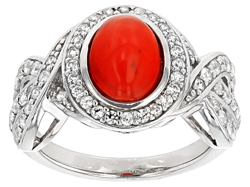 Photo of 1.00ct Oval Orange Ethiopian Opal With .86ctw Round White Zircon Sterling Silver Ring - Size 8