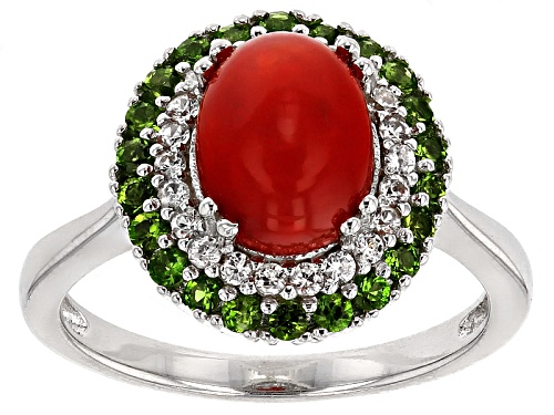 Photo of 1.00ct Oval Orange Ethiopian Opal With .52ctw Russian Chrome Diopside And White Zircon Silver Ring - Size 10