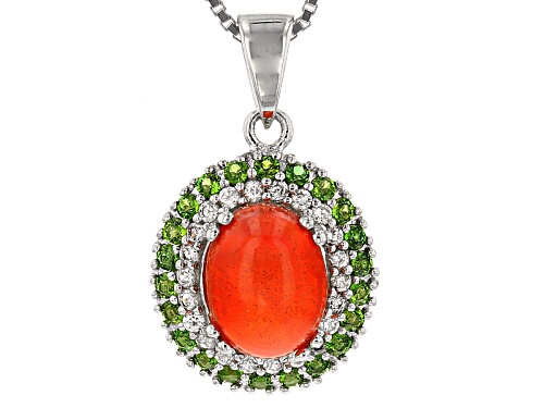 Photo of 1.00ct Oval Orange Ethiopian Opal, .52ctw Chrome Diopside And White Zircon Silver Pendant With Chain