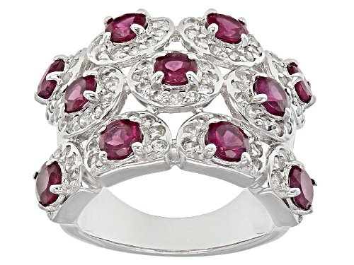 Photo of 3.08ctw Round Raspberry color Rhodolite With 1.79ctw Round White Zircon Sterling Silver Ring - Size 6