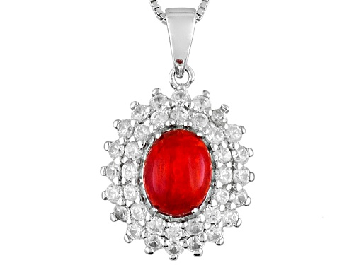 Photo of 1.00ct Oval Orange Ethiopian Opal With 1.76ctw Round White Zircon Sterling Silver Pendant With Chain
