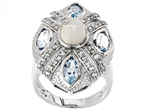 Photo of 8x6mm Oval Rainbow Moonstone, 2.70ctw Marquise Glacier Topaz™, .68ctw White Zircon Silver Ring - Size 5