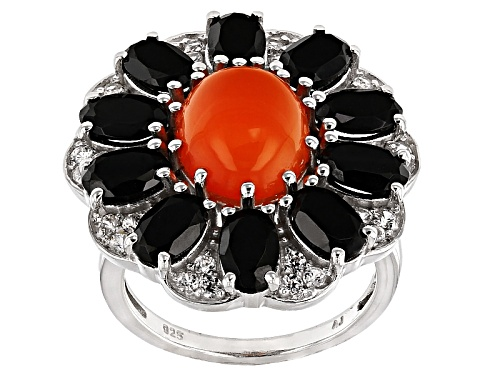 Photo of 11x9mm Oval Orange Carnelian, 5.50ctw Oval Black Spinel And .61ctw Round White Zircon Silver Ring - Size 6