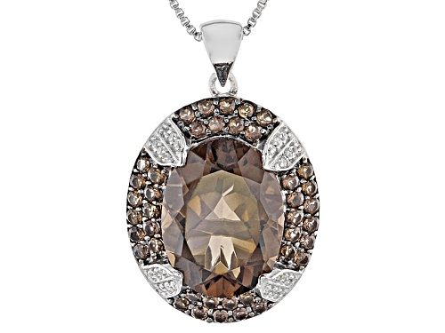 Photo of 9.33ctw Oval And Round Smoky Quartz With .14ctw Round White Zircon Silver Pendant With Chain