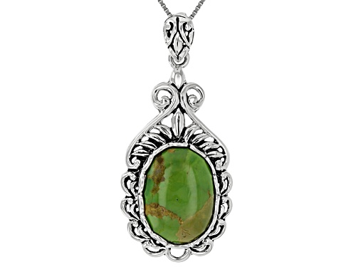 Photo of 18x13mm Oval Cabochon Green Turquoise Sterling Silver Pendant With Chain