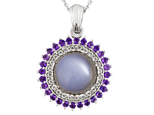 Photo of Round Grey Moonstone, .48ctw Round Amethyst, And .36ctw Round White Topaz Silver Pendant With Chain.