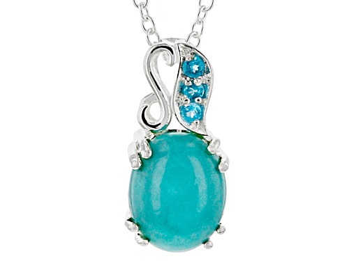 Photo of 10x8mm Cabochon Sleeping Beauty Turquoise And .04ctw Neon Apatite Sterling Silver Pendant With Chain