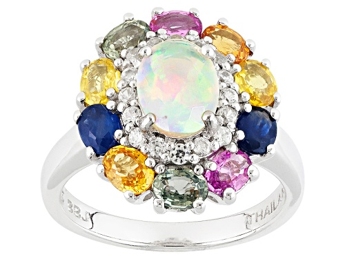 Photo of .53ctw Ethiopian Opal, 2.10ctw Multi Color Sapphire, .28ctw White Zircon Silver Ring - Size 11