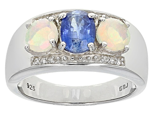 Photo of .90ct Oval Nepal Kyanite With .25ctw Round Ethiopian Opal And .07ctw Zircon Sterling Silver Ring - Size 8