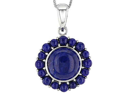 Photo of 12mm 3.5mm And 3mm Round Lapis Lazuli Sterling Silver Pendant With Chain