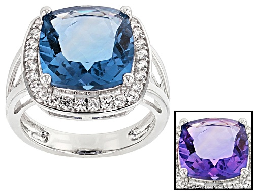 Photo of 7.14ct Square Cushion Color Change Blue Fluorite And .71ctw Round White Zircon Sterling Silver Ring - Size 5
