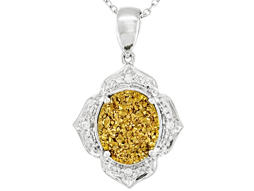 Photo of 12x10mm Oval Golden Color Drusy Quartz And .15ctw Round White Zircon Silver Pendant With Chain