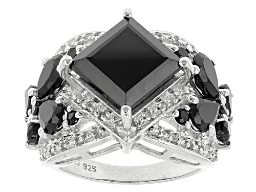Photo of 9.74ctw Square, Pear Shape And Round Black Spinel With .15ctw Round White Topaz Silver Ring - Size 5