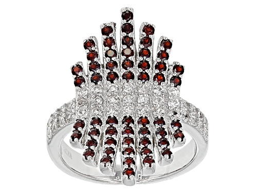 Photo of .72ctw Round Vermelho Garnet™ With .70ctw Round White Zircon Sterling Silver Cluster Ring - Size 5